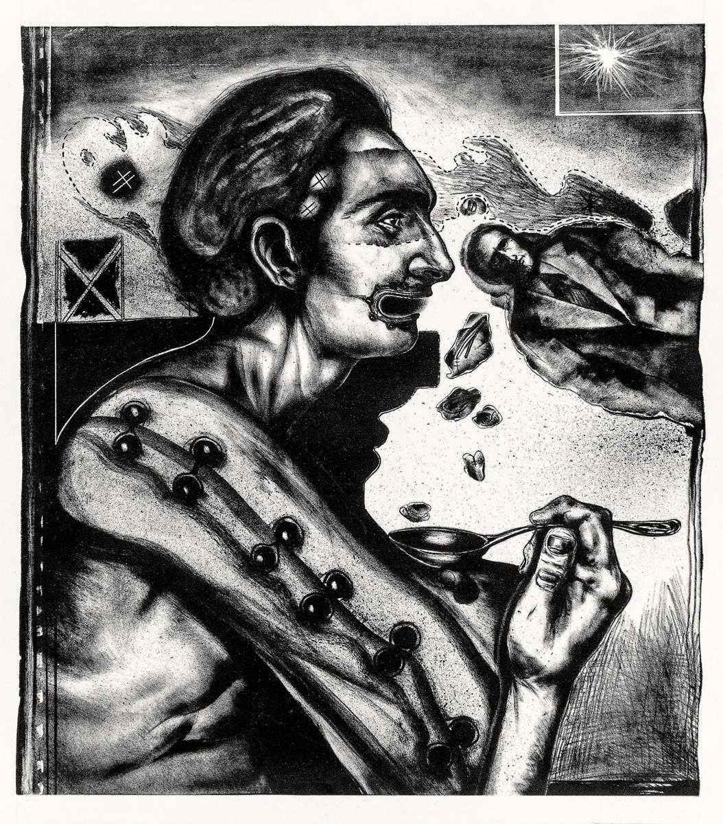 Autoretrato patológico ou desenhado a carvão