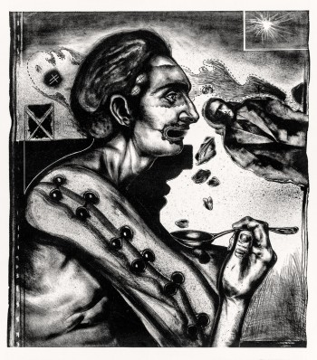Pathologic self-portrait or drawn with charcoal
